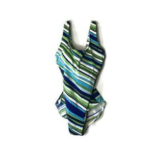 LL Bean Size 10 UPF 50+ Striped One Piece Swimsuit